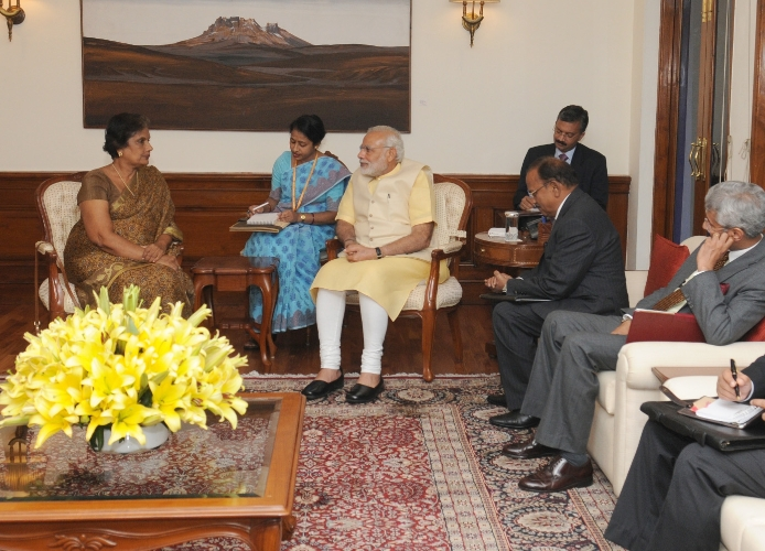 Former President of Sri Lanka, Ms. Chandrika Kumaratunga Bhandaranaike calls on the Prime Minister Modi