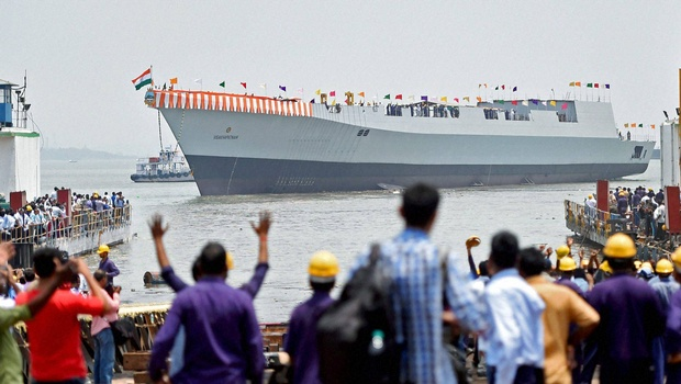 Navy Launches Its Largest Destroyer INS Visakhapatnam