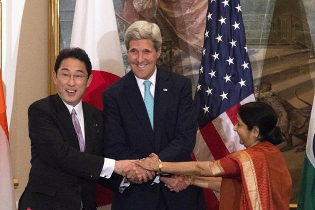 First India, US, Japan foreign ministerial-level meet on Wednesday
