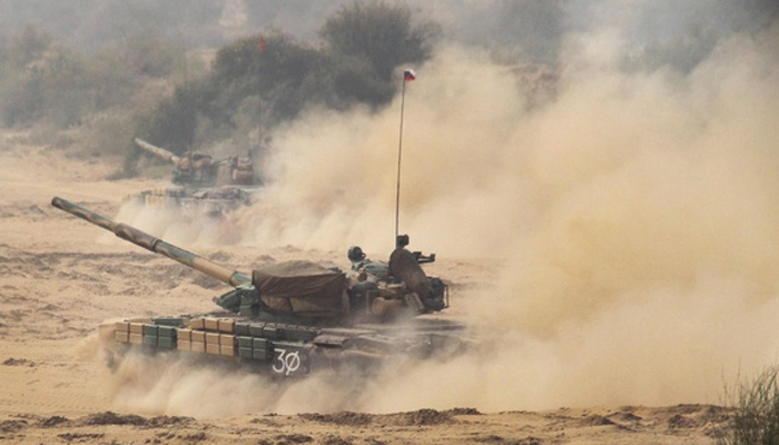 Indian Army is conducting a massive exercise along Pakistan border