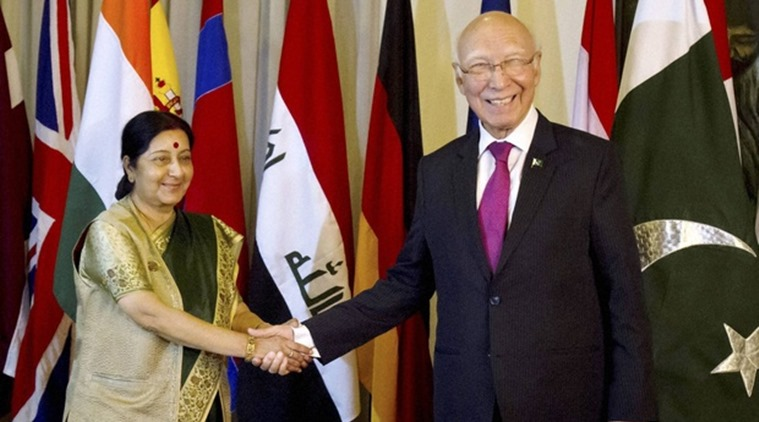 Sushma Swaraj to meet Sartaj Aziz at SAARC event, India to raise issue of Pathankot attack